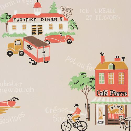 1940s Vintage Wallpaper Pub Cafe Diner