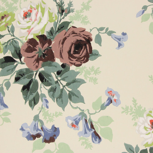 1940s Vintage Wallpaper Brown and White Roses