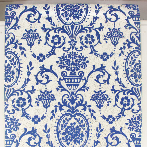1970s Vintage Wallpaper Retro Blue Flock on White