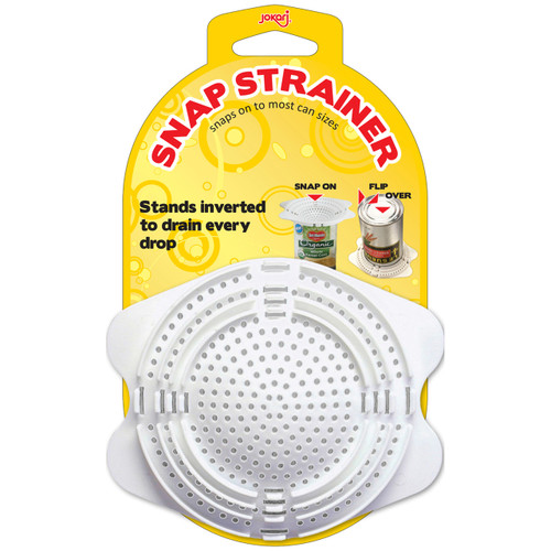 The snap-on Can Strainer is the ideal kitchen gadget for straining vegetables and more!