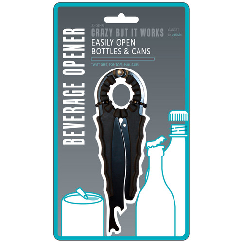 Multi-function opener requires little torque to open twist caps, bottle caps or ring tabs.