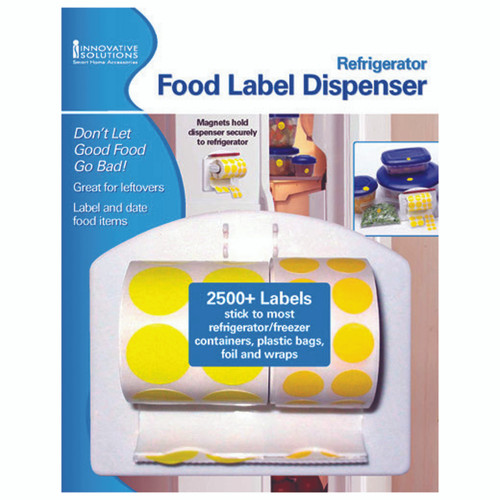 Magnets hold dispenser securely to refrigerator 2500+ Labels: stick to most refrigerator/freezer containers, plastic bags, foil and wraps