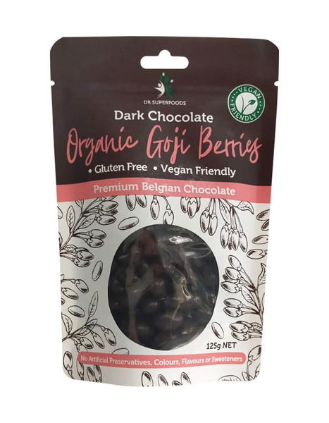 Dr Superfoods Dark Chocolate Coated Organic Goji Berries 125g