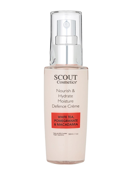 Scout Cosmetics Nourish & Hydrate Moisture Defence Crème with White Tea, Pomegranate and Macadamia  50ml
