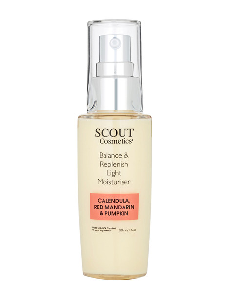 Scout Cosmetics Balance & Replenish Light Moisturiser with Calendula, Red Mandarin & Pumpkin 50ml