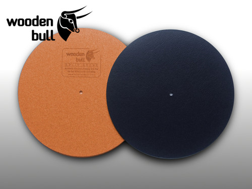 Wooden Bull Leather & Cork Turntable Mat - Black