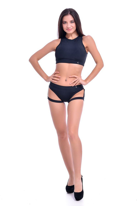 Pole Dance Top Amber Black