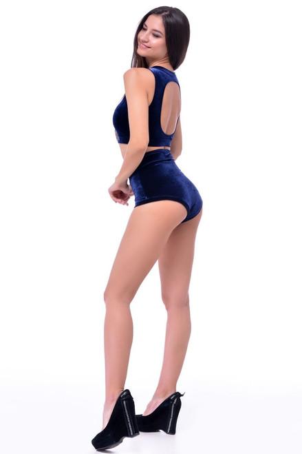 Pole Dance Top Amber Velour-Indigo