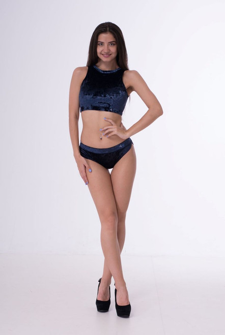Pole Dance Top Amber Velour-Indigo Marble