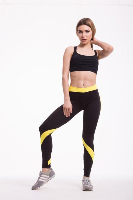 Pole Dance Leggings Ella Black-Yellow