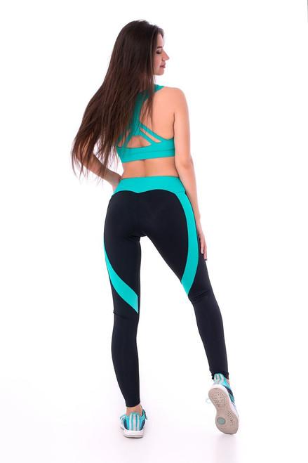 Fitness Leggings Ella Black-Turquoise
