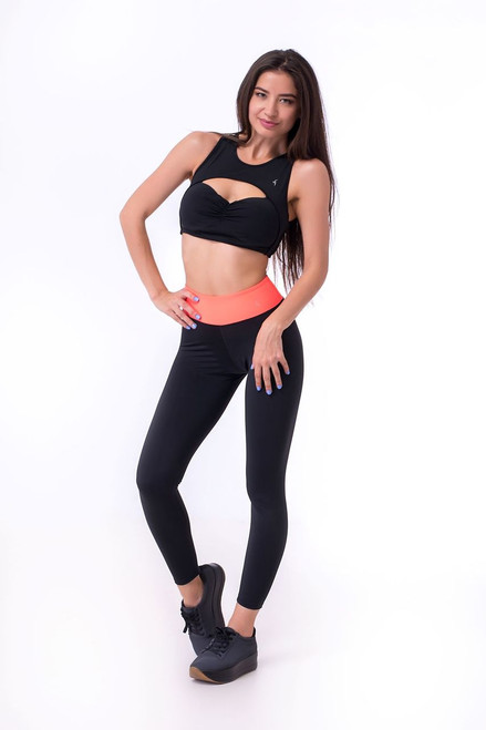 Pole Dance Leggings Donna Black-Orange