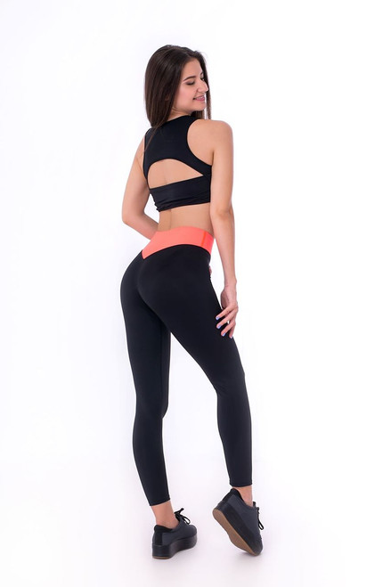 Yoga Leggings Donna Black-Orange