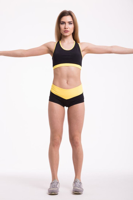 Pole Dance Shorts Isabella Black-Yellow