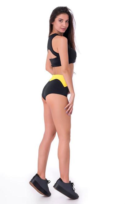 Fitness Shorts Chloe Black-Yellow