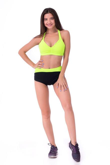 Pole Dance Shorts Chloe Black-Light Green