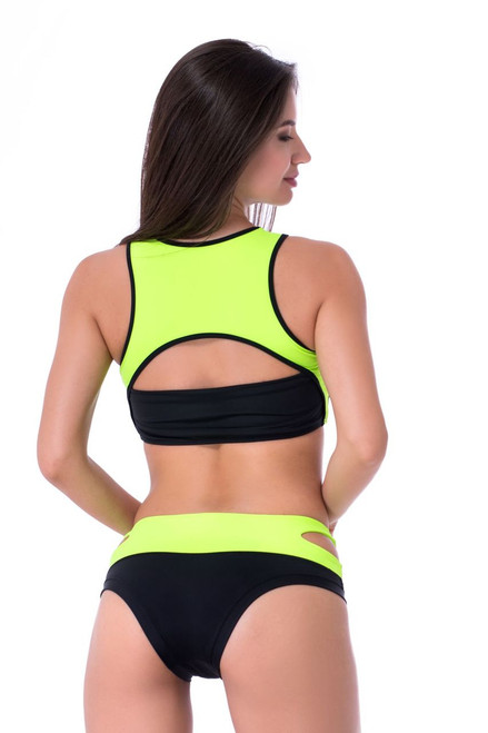 Yoga Shorts Ruby Black-Light Green