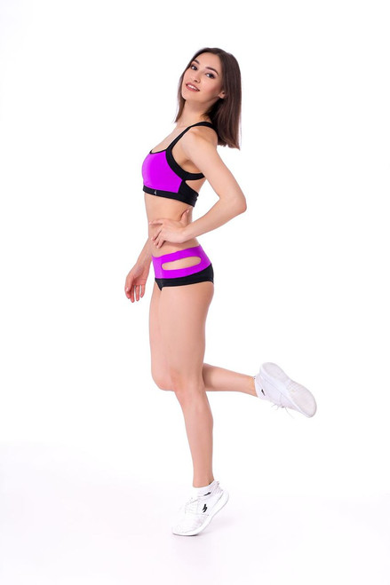 Pole Dance Shorts Ruby Black-Fuxia