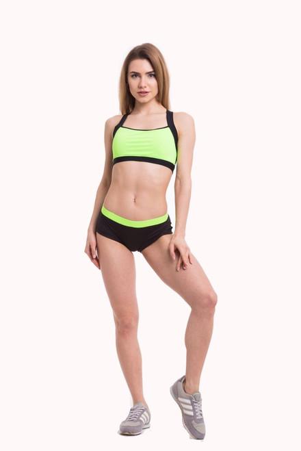 Pole Dance Shorts Lily Black-Light Green