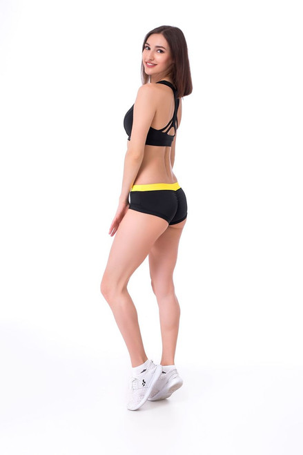 Pole Dance Shorts Lily Black-Yellow