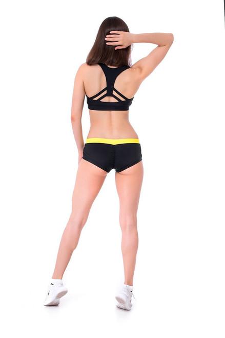 Workout Shorts Lily Black-Yellow
