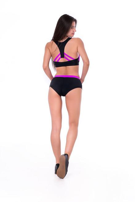 Pole Dance Shorts Lily Black-Fuxia