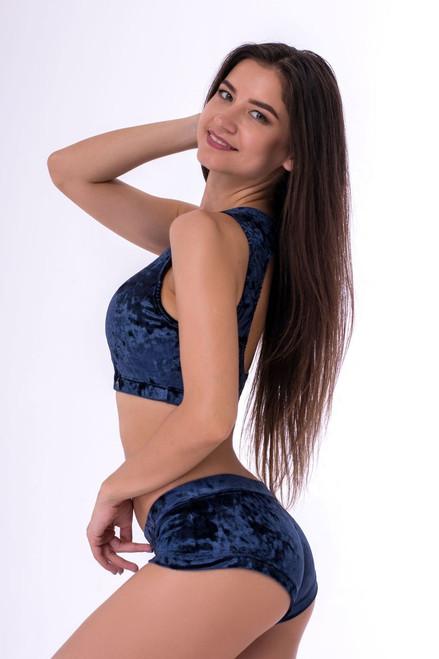 Pole Dance Shorts Lily Velour-Indigo Marble