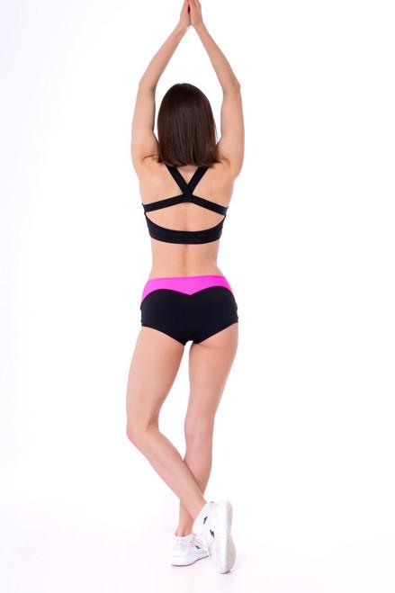 Yoga Top Charlotte Pink-Black,Polewear, Pole Top, Pole Bra