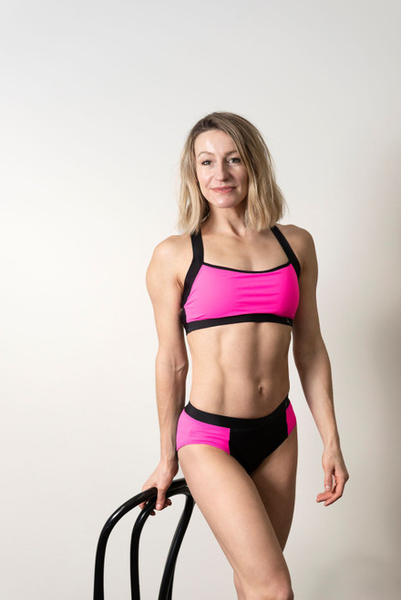 Yoga Top Charlotte Pink-Black,Polewear, Pole Top, Pole Bra