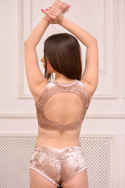 Pole Dance Top Amber Velour-Powder Marble, poledance Top, Poledance Bra, Poledancing clothes, Pole Dance Clothing