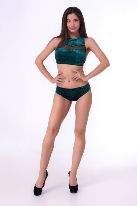 Pole Dance Shorts Pyrope Velour-Green Marble