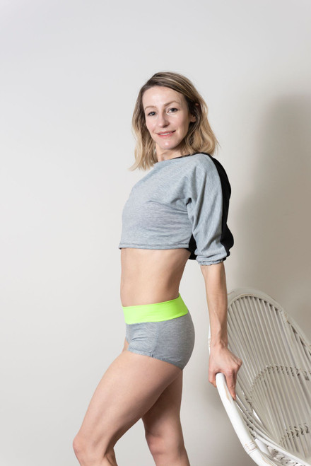 Pole Dance Shorts Camila Grey-Light Green, shorts, poleshorts, sportshorts