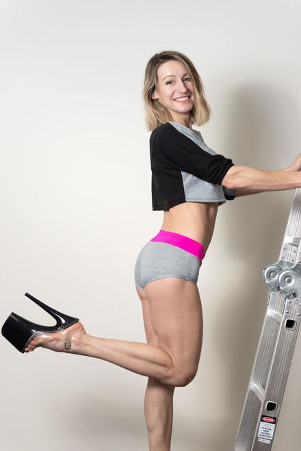 Pole Dance Shorts Camila Grey-Pink, Poleshorts, Poledance clothes, Polewear