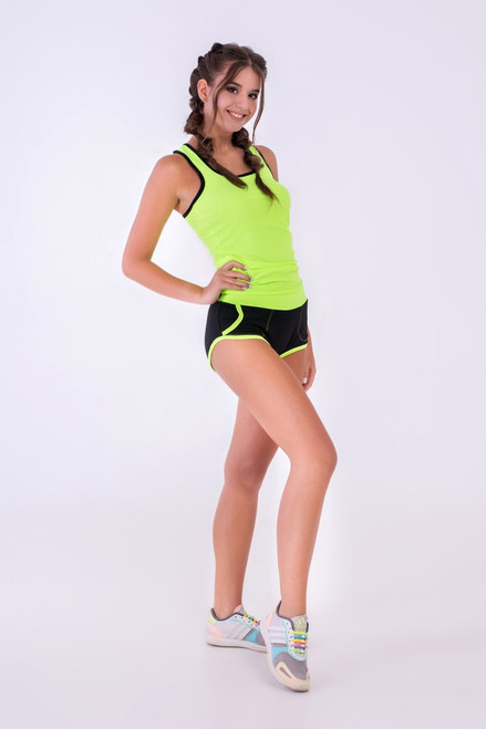Pole Dance Shorts Claire Black-Light Green