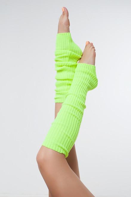 Dance Leg Warmers Electric-Yellow 90cm