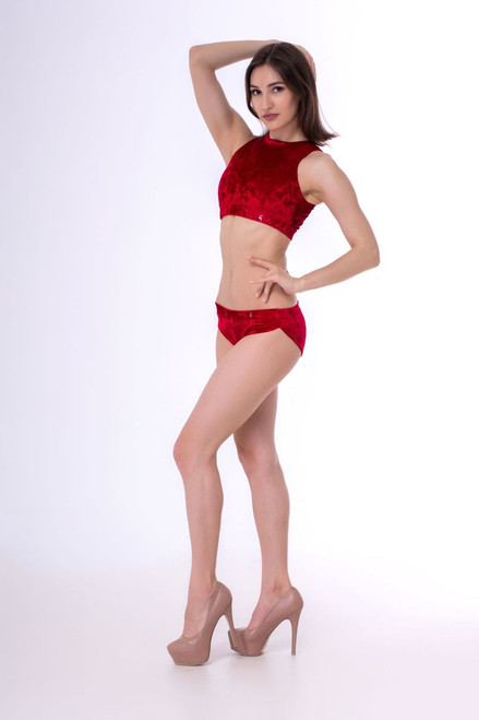 Shorts Pyrope Velour-Red Marble - pole wear scrunch bum shorts