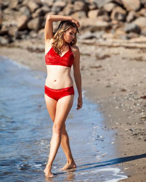 Top Olivia Velour-Red Marble - polewear crop top