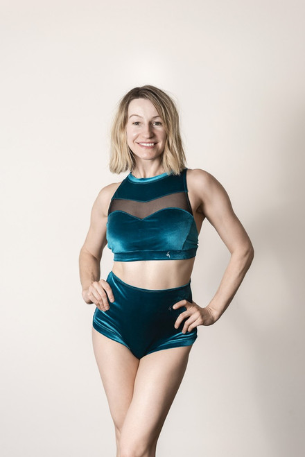 Pole Dance Top Emerald Velour - French Blue polewear