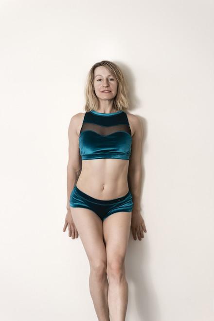 Pole Dance Shorts Lily Velour - French Blue polewear