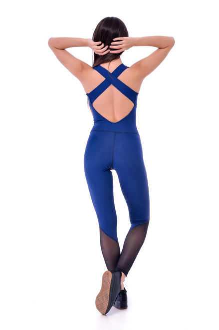 Yoga Leotard Marilyn Mesh Royal Blue