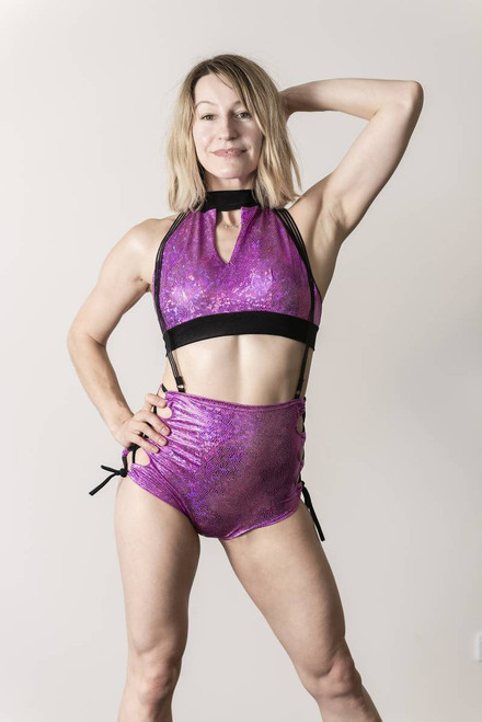 Shorts Penelope Mermaid Purple - polewear, hoop, silk suspended shorts