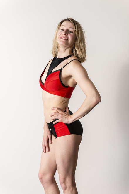 Pole dance Crop Top Eleanor Red-Black