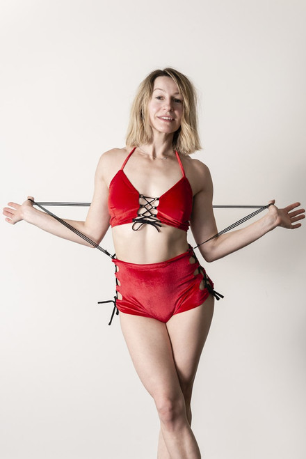 Top Paisley Velour-Red - velour polewear crop top with criss-cross details