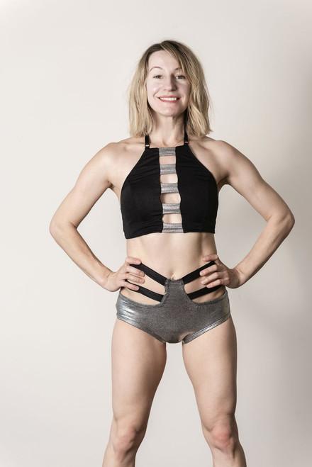 Top Audrey Black-Silver - polewear open back crop top