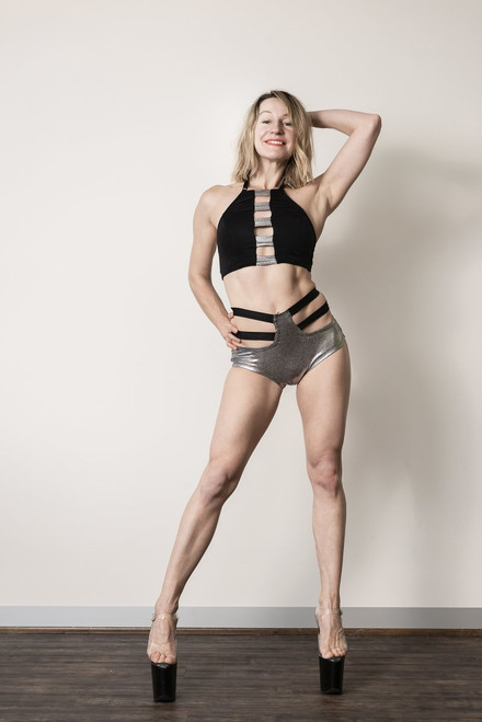 Shorts Caroline Silver-Black - polewear high waist  shorts