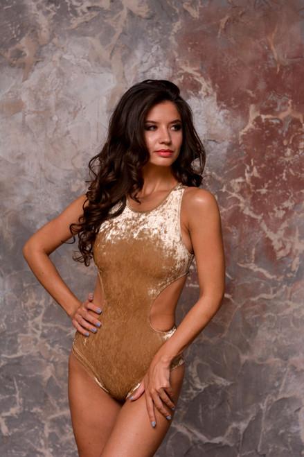 Bodysuit Teagan Velour-Gold, Polewear, Polebodysuit, Gold Pole wear, Polegear, Poledance clothing, Bodysuit