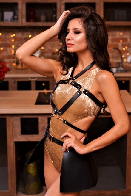Body Harness Lizzie & Skirt Black-Gold, Body Harness, Garters