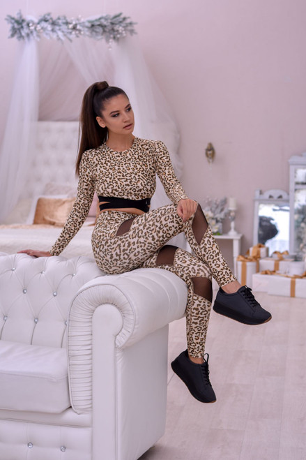 Long Sleeve Crop Top Ellie Leopard