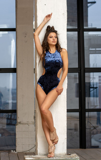 Bodysuit Teagan Velour Navy Blue