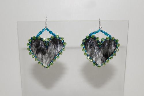Heart-Shaped Seal Fur Earrings